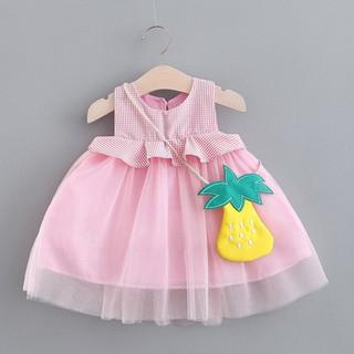 Đầm cotton sát nách họa tiết ca rô xinh xắn dành cho bé gái