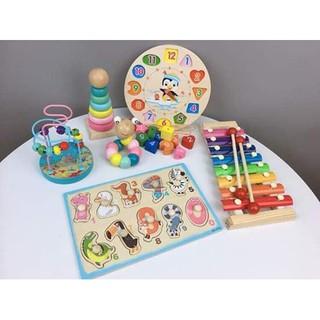 ( SALE NGÀY CUỐI CÙNG ) Bộ Đồ Chơi Montessori Gỗ thông 6 Món Cho Bé