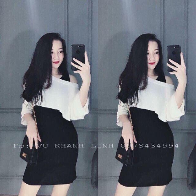 1497993661 - Sét đầm đen+ áo lệch vai