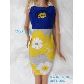 Đầm búp bê barbie body hoa vàng