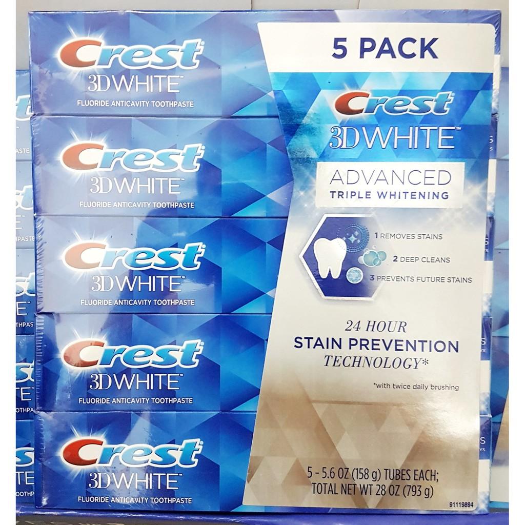 Lốc 5 tuýp Kem đánh răng Crest 3D White Advanced Triple Whitening tuýp 158g từ Mỹ