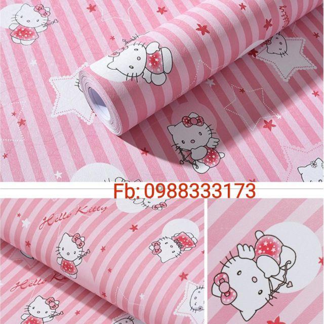 Giấy dán tường kitty sọc hồng/xanh khổ rộng 45cm