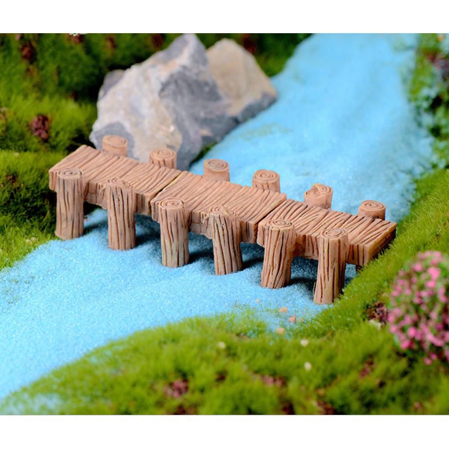 Mô hình đoạn cầu gỗ (04 cột) thích hợp trang trí như cầu cảng biển cho tiểu cảnh, bonsai