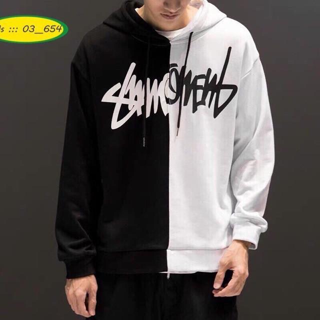 Áo khoác hoodie chữ ký phom rộng phối 2 màu
