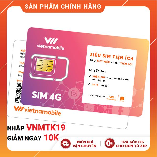 Hình ảnh [Mã VNMTK11 Mua Giá 0Đ] Siêu Sim Tiện Ích Miễn phí Data Gọi & SMS nội mạng - Duy trì chỉ 20k/tháng - Vietnamobil-1