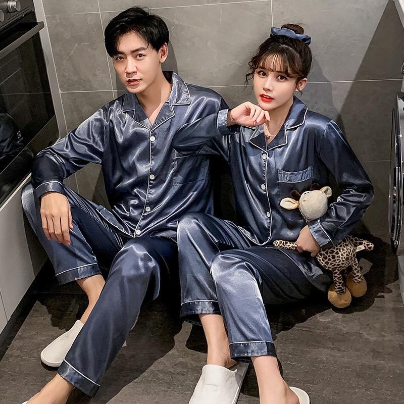 Mặc gì đẹp: Ngủ ngon với Đồ ngủ Pijama dài tay mã 201 nam nữ chất vải lụa bóng siêu đẹp