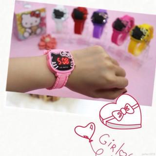 Đồng hồ điện tử cho trẻ em mặt Led chống nước họa tiết Hello Kitty