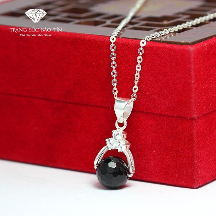 Dây Chuyền Phong Thủy Bạc Nữ Obsidian Lấp Lánh - Trang Sức Bảo Tín