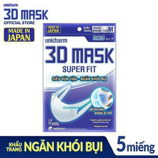 Khẩu trang ngăn khói bụi Unicharm 3D Mask Super Fit size M