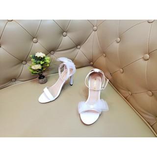 [Mã FASHIONRNK giảm 10k đơn từ 50k] Giày cao gót nữ quai ngang mảnh đính nơ phồng xinh GCC thumbnail