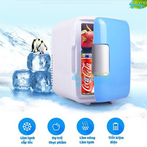 Tủ lạnh dùng cho ô to và gia đình đựng đồ trang điểm mỹ phẩm 2 chiều nóng lạnh dung tích 4l(hàng chĩnh hãng)