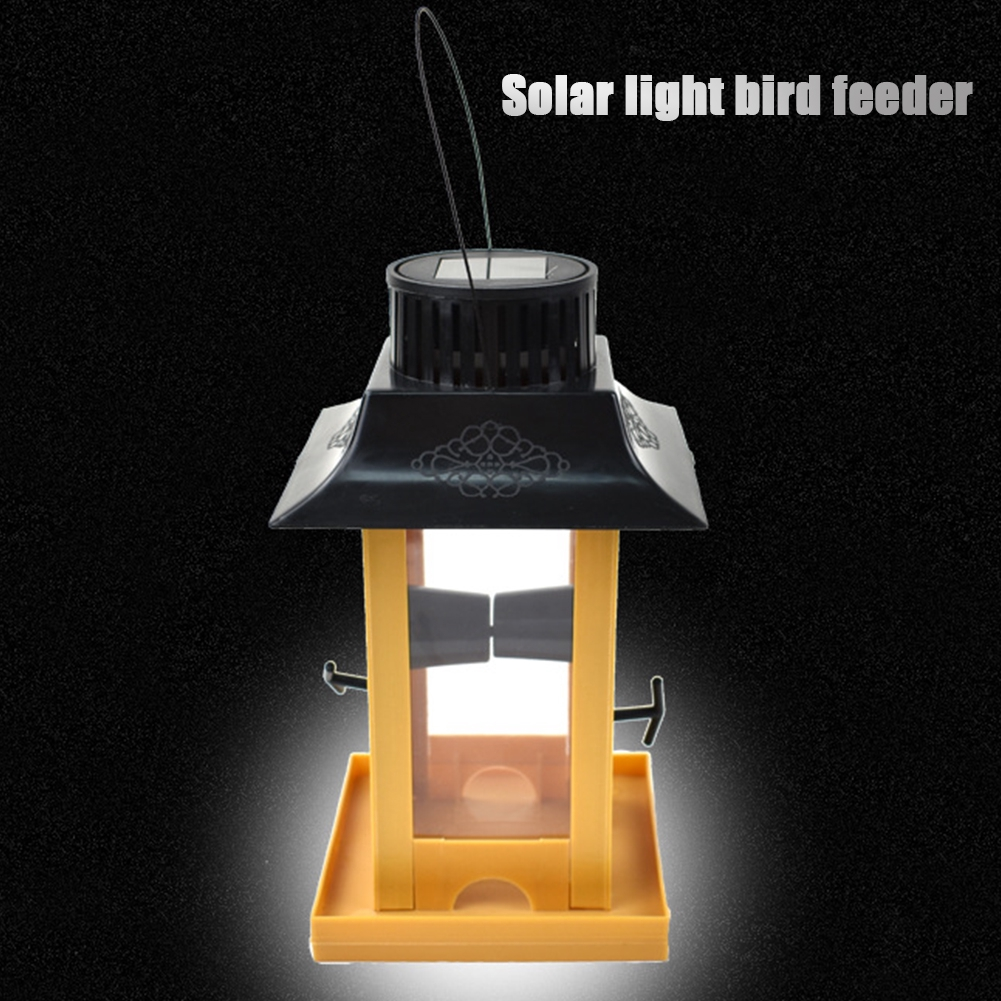 Outdoor Bird Feeders Plastic Feeder PVC Large Capacity UV Hanging Lantern Solar Energy Eco-friendly Weather Proof