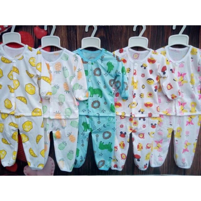 Set 5 bộ cotton co giãn 2 chiều dài tay cho bé
