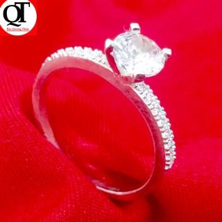 Nhẫn nữ Bạc Quang Thản ổ cao gắn kim cương nhân tạo, chất liệu bạc thật có thể chỉnh size theo yêu cầu. thumbnail