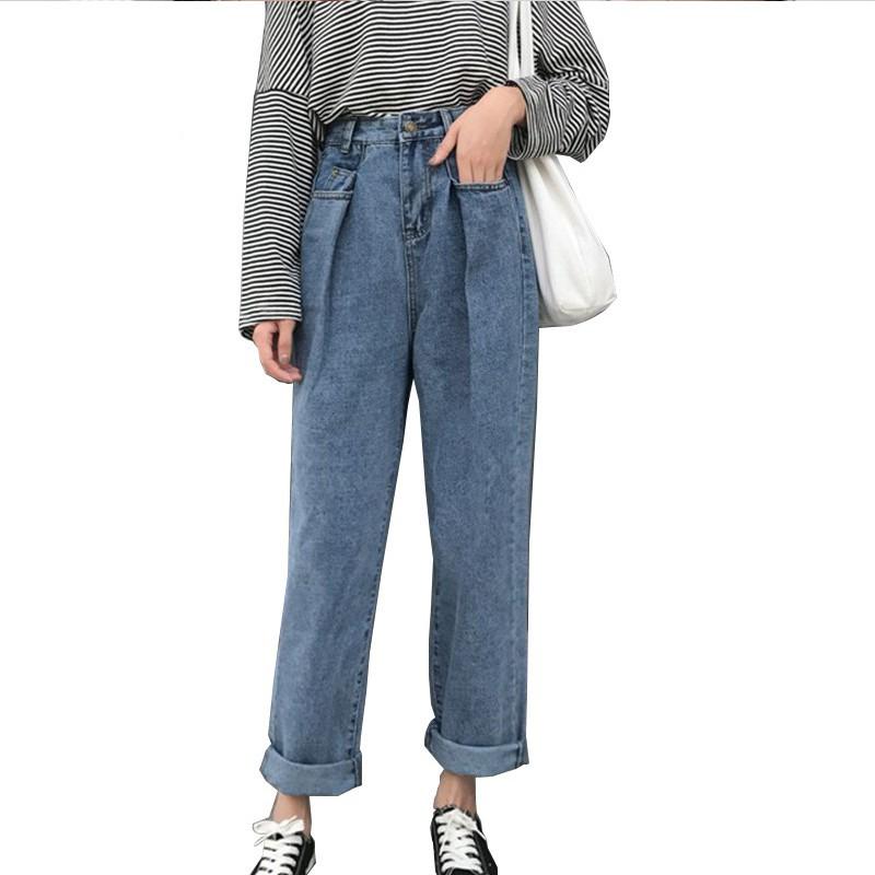 Quần Jeans Dài Lưng Cao Ống Rộng Cá Tính Cho Nữ