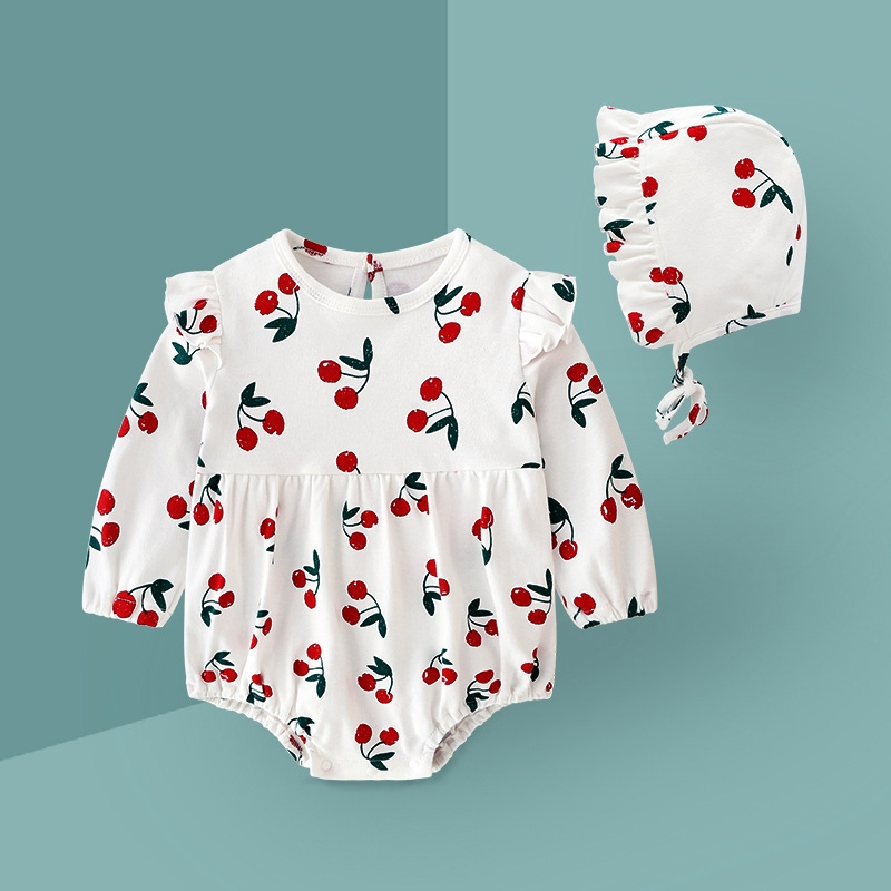 2019 Baby Outfit Autumn 100% Cotton Cherry Long-sleeved Romper Hat Girl Set