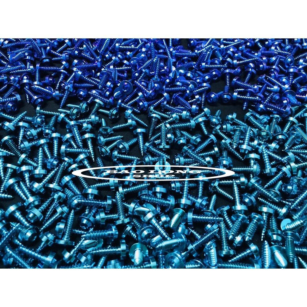 Ốc Titanium GR5 Xoắn 5li18 Xanh Lục Bảo,Xanh Tím (Titan 100% )9