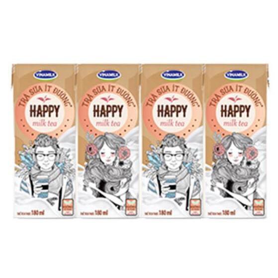 TRÀ SỮA ÍT ĐƯỜNG VINAMILK HAPPY - LỐC 4 HỘP X 180ML