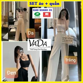 Set quần ống suông đẹp + áo crotop siêu xinh 2021 màu trắng, đen, da - Thời trang VADA - S98 thumbnail