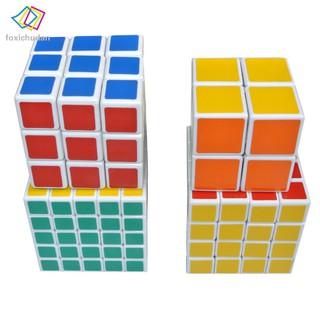 FCD 4pcs 2x2x2 3x3x3 4x4x4 5x5x5 Magic Speed Twist Puzzle Cube White for Kids