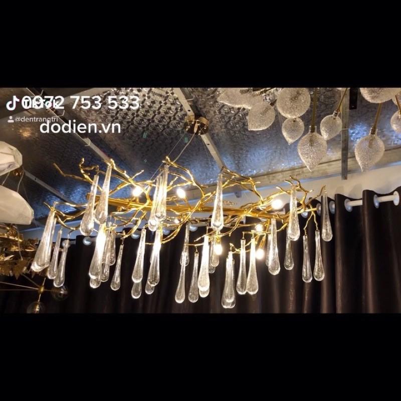 Đèn chùm pha lê cao cấp đèn serip phòng khách bàn ăn hiện đại