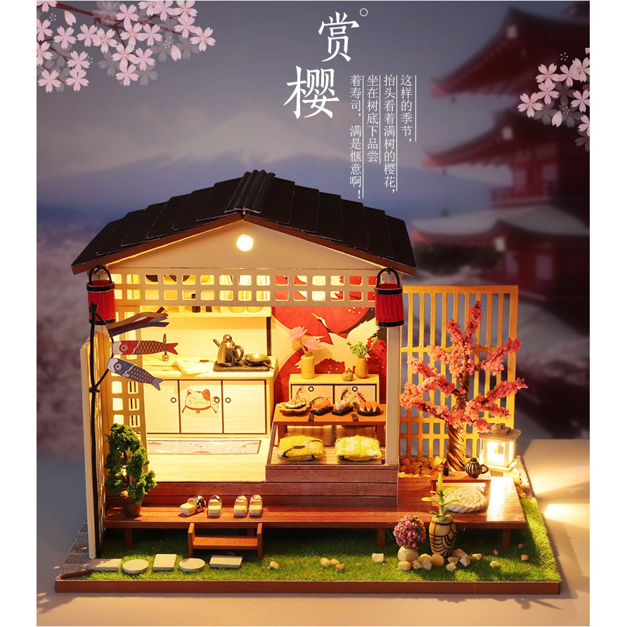 Nhà búp bê gỗ - Tiệm sushi truyền thống Nhật Bản (có mica che bụi , keo dán)