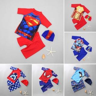 Set đồ bơi bé trai quần lửng siêu nhân người nhện người sắt đội trưởng Mỹ 3 mảnh