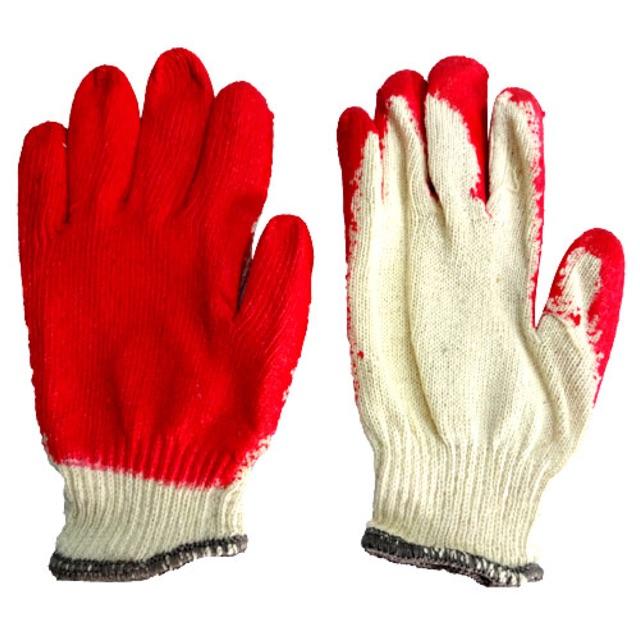 Găng tay sợi phủ cao su đỏ (1 đôi)
