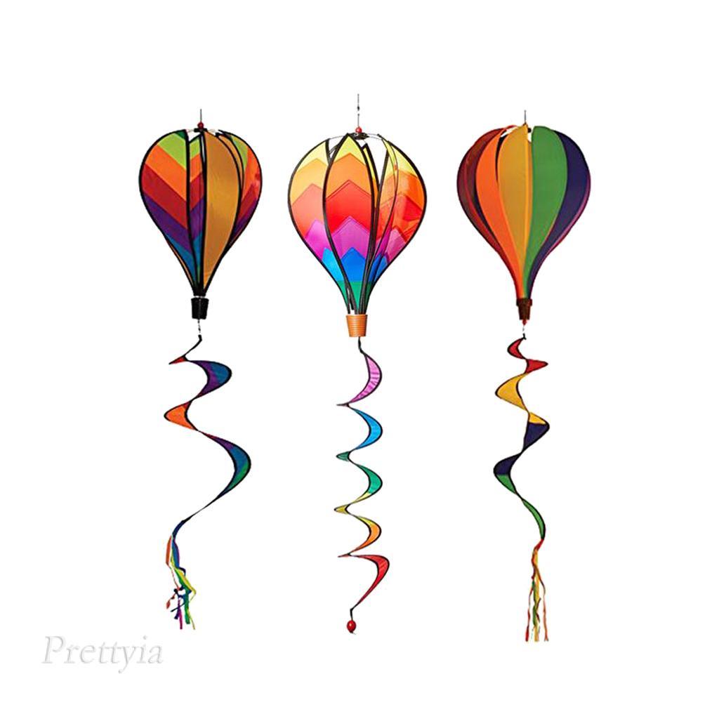 """3Pcs 55 """" Hot Air Balloons Wind Spinners Spiral Windmill Garden Yard Decor"""
