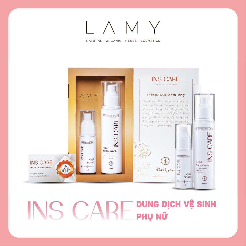 Dung dịch vệ sinh Ins Care, Bộ đôi Gel và chai dạng xịt làm sạch sâu, se khít, hương thơm tự nhiên - Lamy Beauty Store