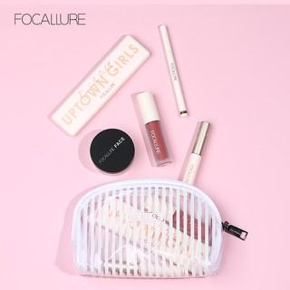 Bộ 6 món dụng cụ trang điểm phấn mắt + mascara + son môi + chì kẻ chân mày FOCALLURE kèm túi đựng 232g