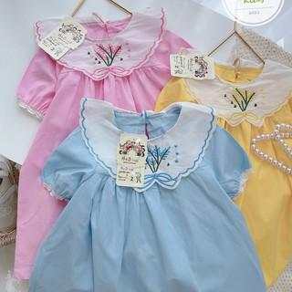 Váy Đầm Chữ A Cổ Thêu Ren Chất Thô Boy Siêu Xinh Diện Hè Cho Bé Gái 10-24kg (QATE 012)