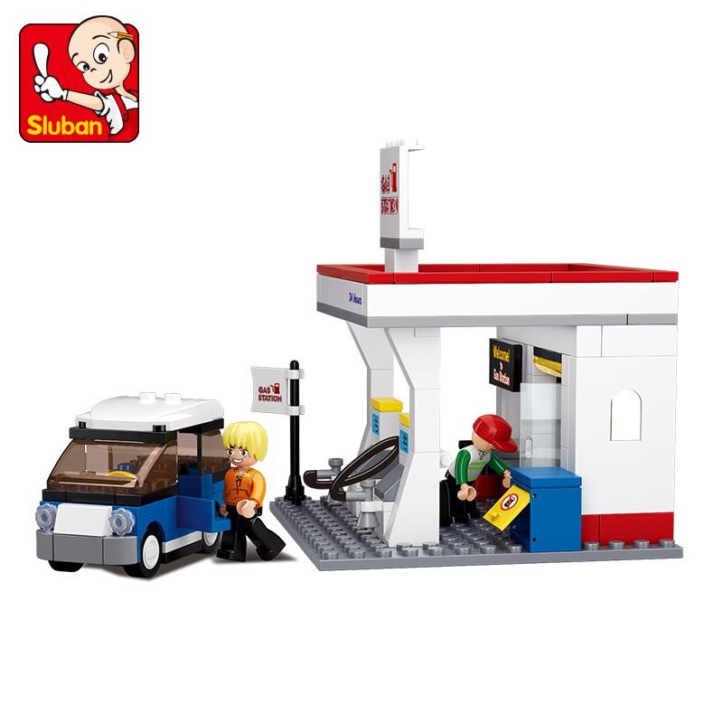 167PCS Sluban Building Blocks Educational Kids Construction Toy Gas Station B0568