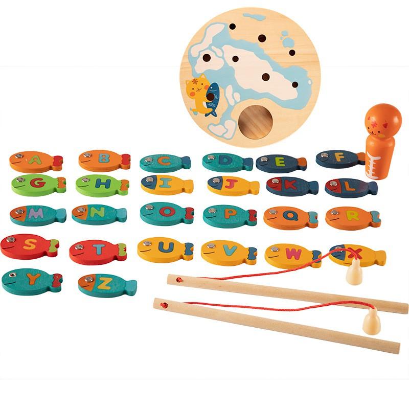Đồ chơi giáo dục xuất Nhật - Đồ chơi Câu Cá Gỗ Học Chữ Cái
