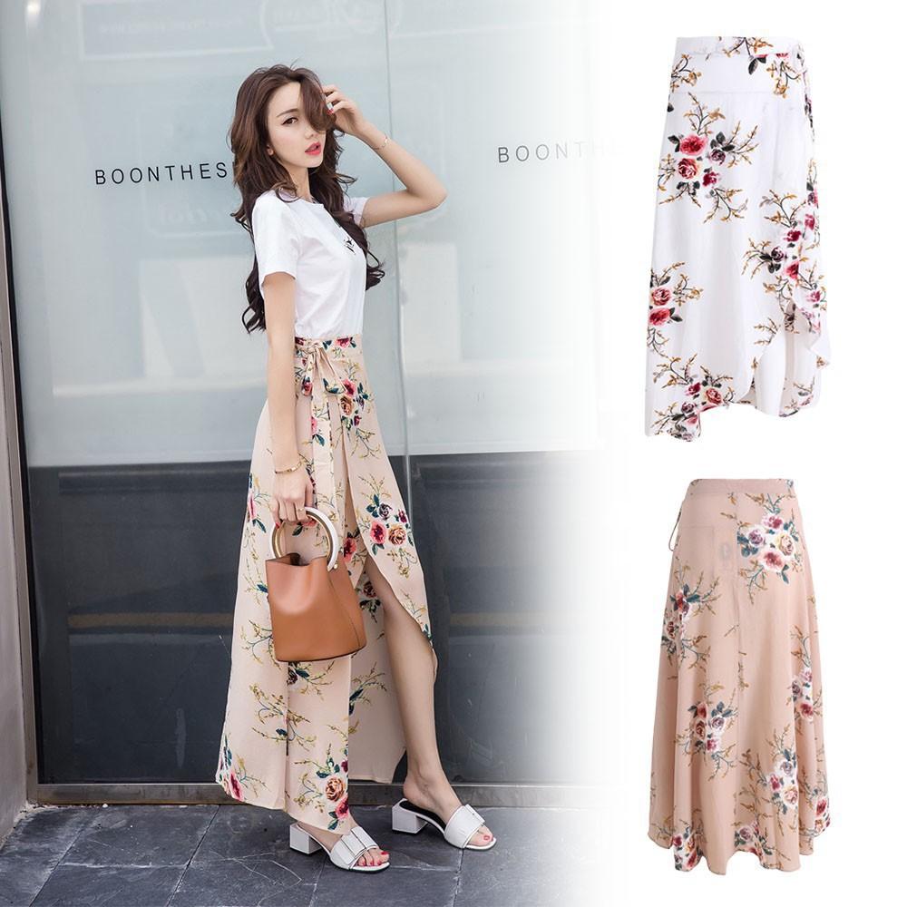 Chân Váy Dài Lưng Cao Hoạ Tiết Hoa Phong Cách Vintage