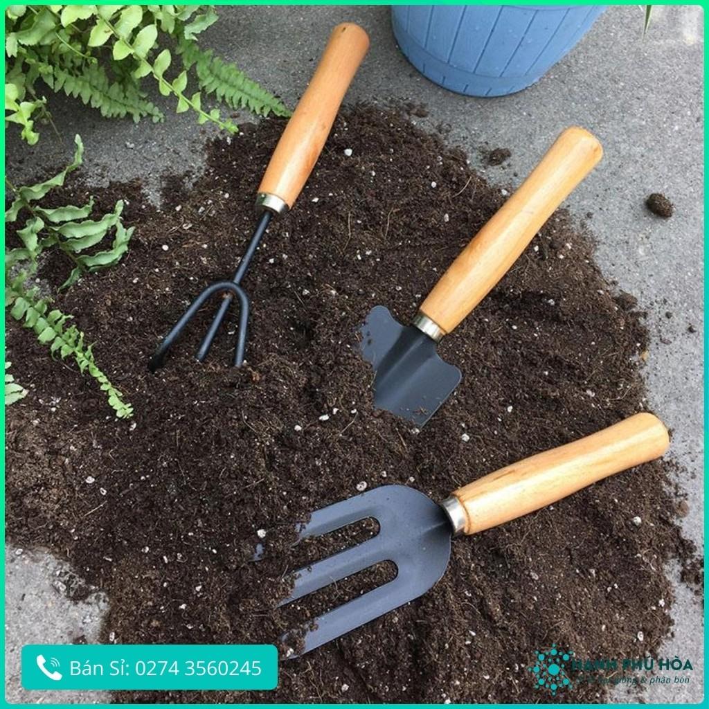 Bộ Ba Dụng Cụ Bằng Gỗ Kích cỡ Nhỏ: Xẻng+Cào+Chĩa Mini-Tiện Lợi Thích Hợp Cho Việc Trồng Cây, Trồng Rau, Làm Vườn Tại Nhà