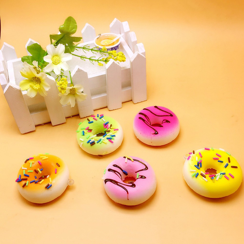 30 PCS Squishy Squeeze Slow Rising Simulation Cake Bread Donut Random Phone Pendant Fun Relieve Stress Toy Set JK15