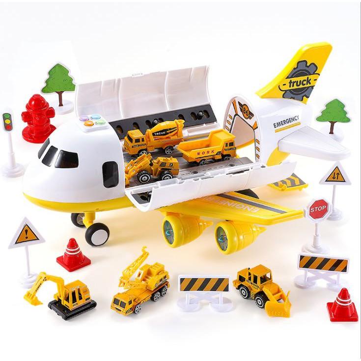 Máy Bay Chở Xe Ô Tô đồ chơi Máng trượt, có đèn, combo6 oto mini bằng thép, phụ kiện sân bay đường băng