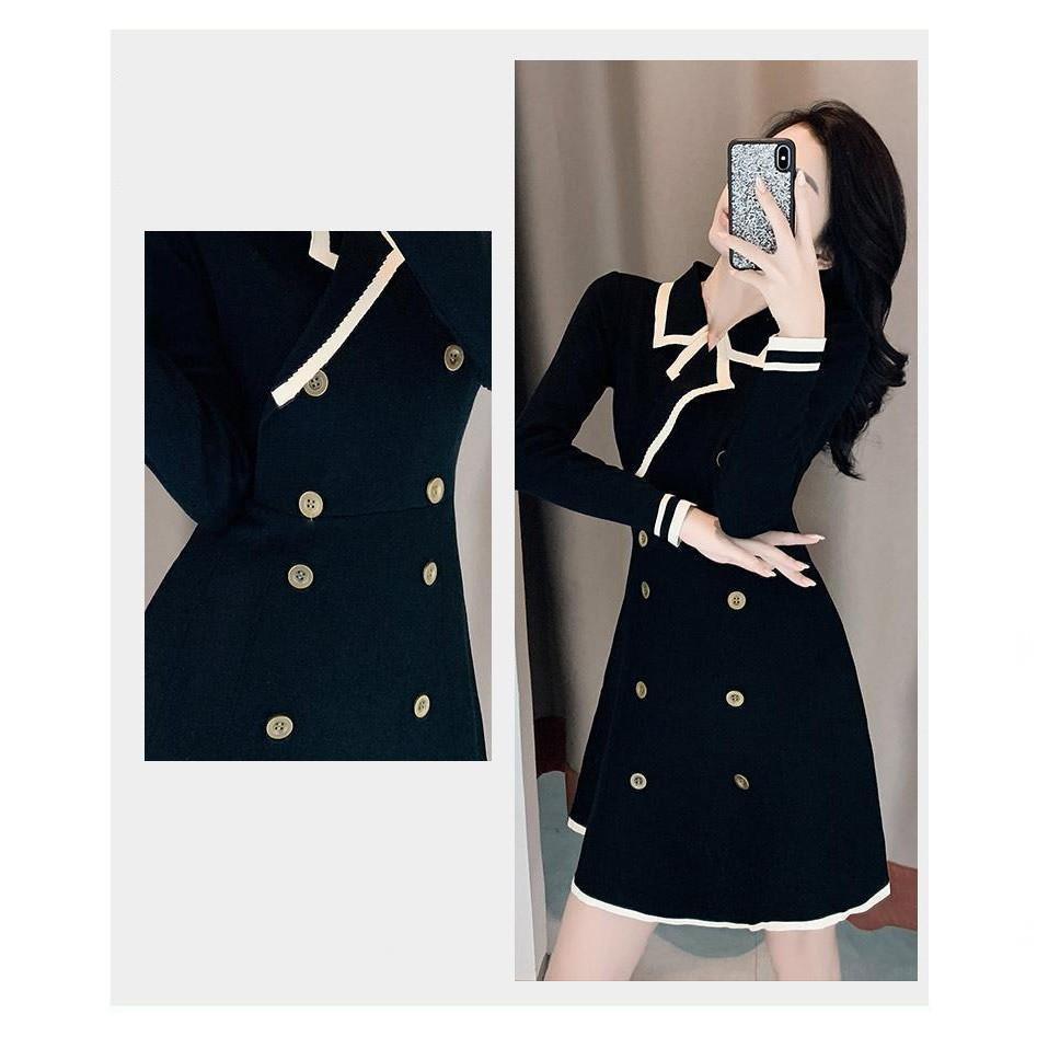 Đầm Cổ Bẻ Dài Tay - Váy Thiết Kế Ôm Eo Xinh Xắn Theo Phong Cách Retro