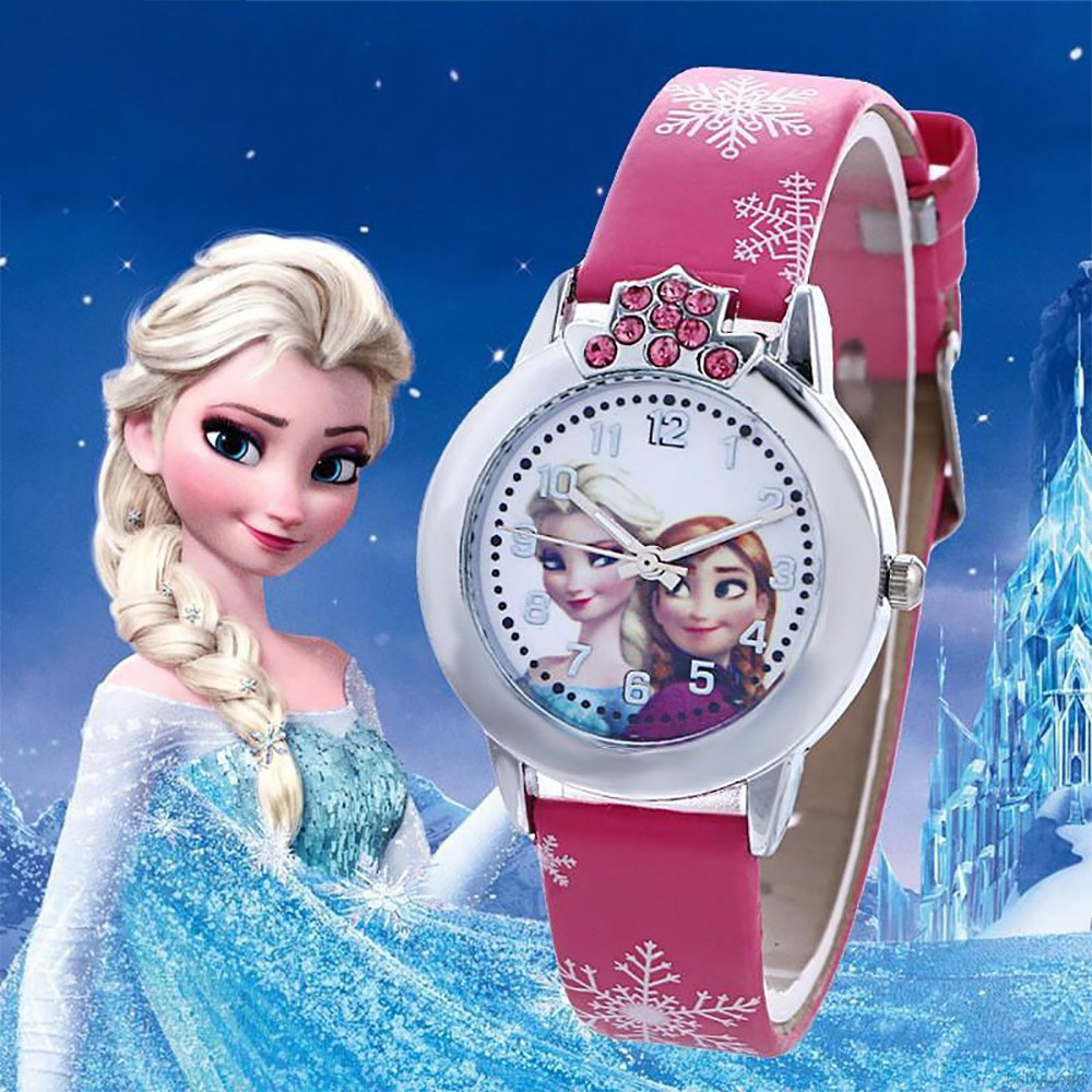 Đồng Hồ Công Chúa Elsa Chống Thấm Nước Dành Cho Bé Gái