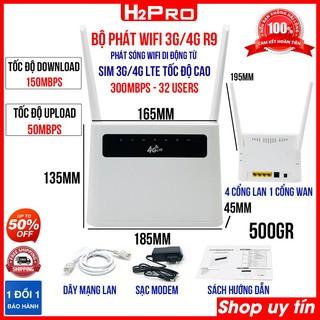 Bộ phát wifi 4G không dây R9 H2Pro cao cấp tốc độ cao 300MBPS-32 Users, bộ phát wifi từ sim 4G có 4 cổng lan
