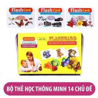 combo đồ chơi Bộ Thẻ Học Thông Minh loại to Flashcard 15 Chủ Đề song ngữ tiếng Anh