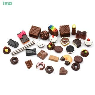 fstyzx 30Pcs 1:12 Dollhouse Miniature Food Home Craft Ornament Doll Dessert Kids Toy