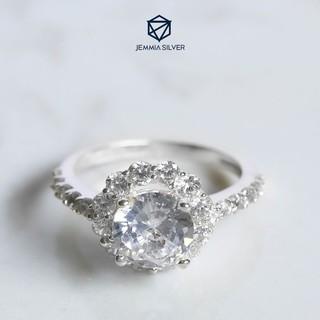 Nhẫn bạc nữ Jemmia hoa trà đính đá - JM030