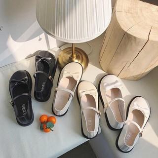 Giày lolita mũi tròn quai ngang đính nơ Hàng quảng châu