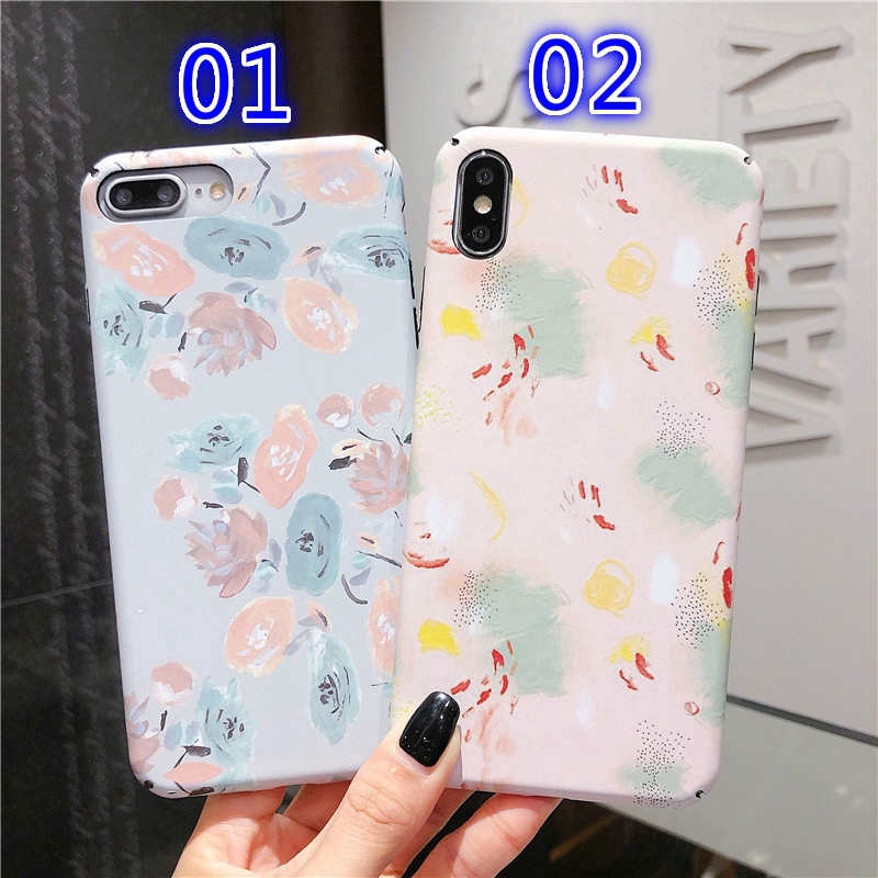 For iPhone 6 7 8 Plus X XR XS Max Hard PC Flower Pattern Phone Case