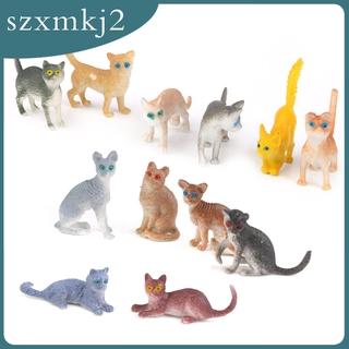 Cutest Plastic Small Cat Figures Simulation Moulds Kids Toy Colorful 12PCS