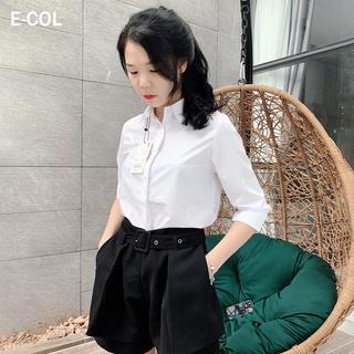 Áo Sơ Mi Nữ Trắng Công Sở, Dáng Suông (40-65kg), Giấu khuy áo. Chất vải dày dặn chống nhăn