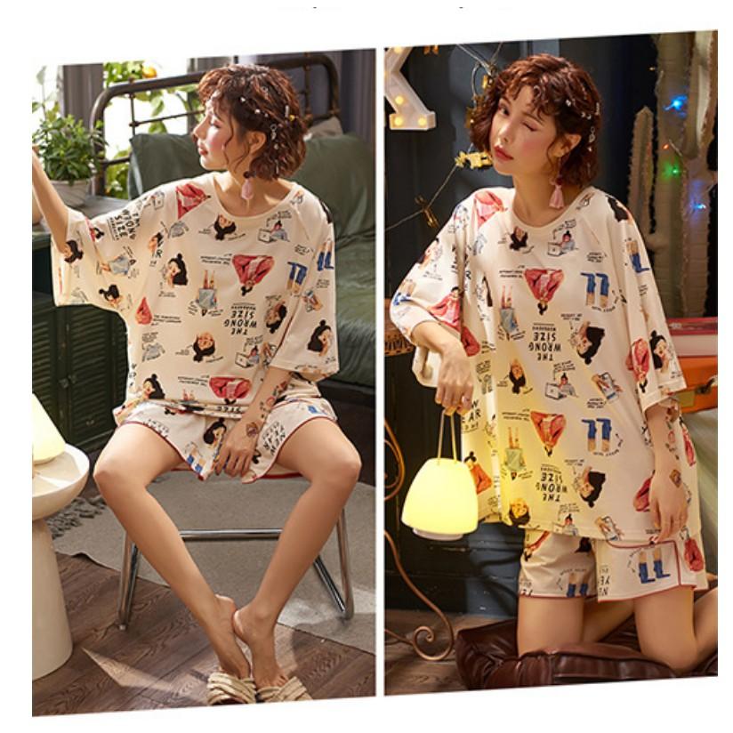Đồ ngủ nữ cotton thun cộc tay pijama, Đồ bộ nữ cộc tay dễ thương mùa hè chất mát nhiều hoạ tiết đẹp