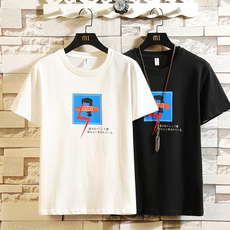 Summer new men's T-shirt students round neck Korean version of the compassionate